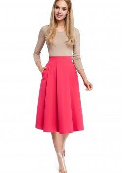 Елегантна пола с висока талия в розов цвят M302