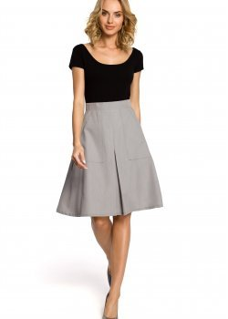 Елегантна пола с висока талия в сив цвят M184
