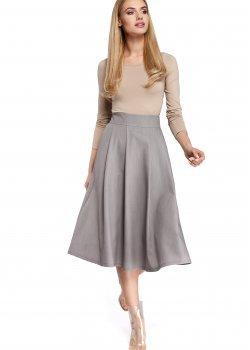 Елегантна пола с висока талия в сив цвят M302