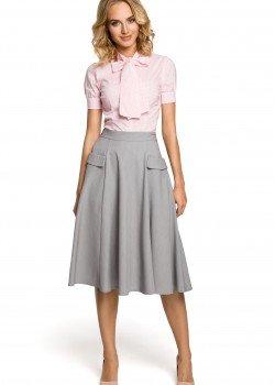 Елегантна пола с висока талия в сив цвят M321