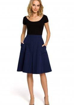 Елегантна пола с висока талия в тъмносин цвят M184