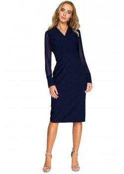 Елегантна рокля в тъмносин цвят S136