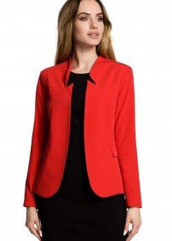 Елегантно сако с ефектна яка в червен цвят M358