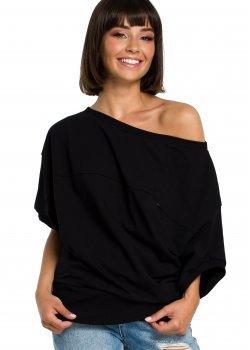 Ежедневна блуза с 3/4 ръкави в черен цвят B079