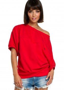 Ежедневна блуза с 3/4 ръкави в червен цвят B079