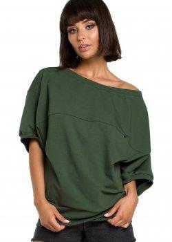 Ежедневна блуза с 3/4 ръкави в тъмнозелено B079