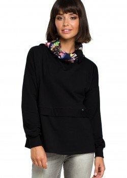 Ежедневна блуза с шал яка в черен цвят B084