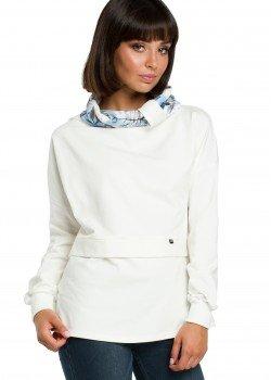 Ежедневна блуза с шал яка в цвят екрю B084