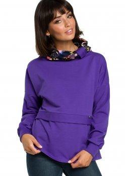 Ежедневна блуза с шал яка в лилав цвят B084