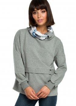 Ежедневна блуза с шал яка в сив цвят B084