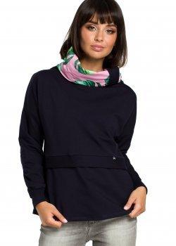 Ежедневна блуза с шал яка в тъмносин цвят B084