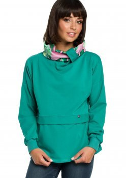 Ежедневна блуза с шал яка в зелен цвят B084