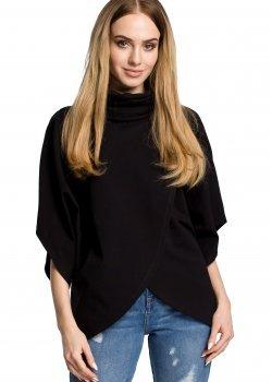 Ежедневна блуза с висока яка в черен цвят M372