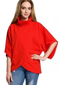 Ежедневна блуза с висока яка в червен цвят M372