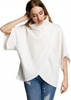 Ежедневна блуза с висока яка в цвят екрю M372