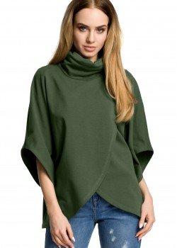 Ежедневна блуза с висока яка в тъмнозелено M372