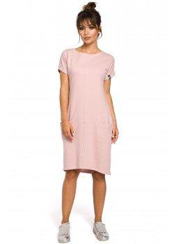 Ежедневна миди рокля в цвят пудра B050