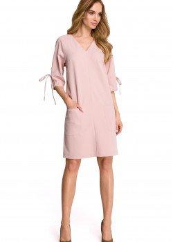 Ежедневна миди рокля в цвят пудра S111