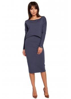 Ежедневна миди рокля в син цвят B001