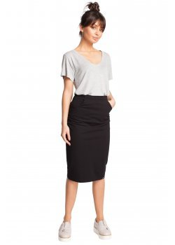 Ежедневна пола с висока талия в черен цвят B019