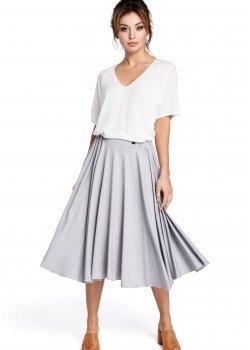 Ежедневна пола с висока талия в сив цвят B037