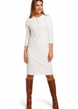 Класическа рокля в цвят екрю S178