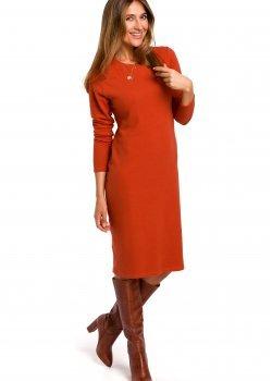 Класическа рокля в оранжев цвят S178
