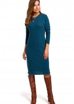 Класическа рокля в син цвят S178