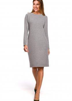 Класическа рокля в сив цвят S178
