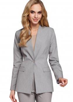 Класическо сако без яка в сив цвят M304