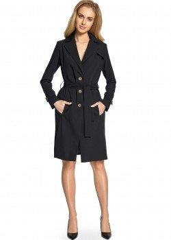 Класическо тънко палто в черен цвят S094