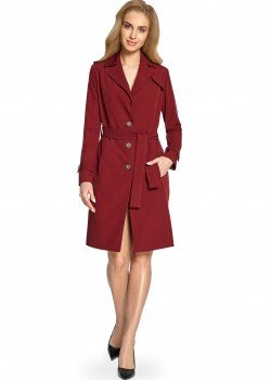 Класическо тънко палто в цвят бордо S094