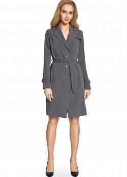 Класическо тънко палто в сив цвят S094