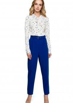 Класически панталон с висока талия в син цвят S124