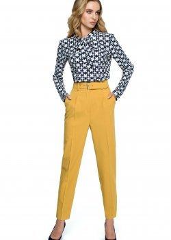 Класически панталон с висока талия в жълт цвят S124