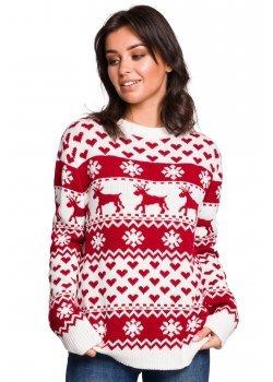 Коледен пуловер в бял цвят BK039
