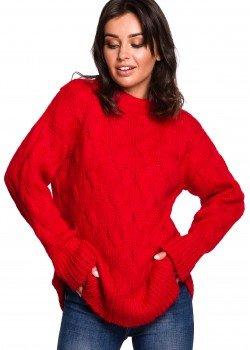 Плетен пуловер в червен цвят BK038