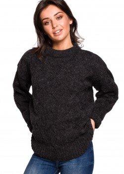 Плетен пуловер в тъмносив цвят BK038