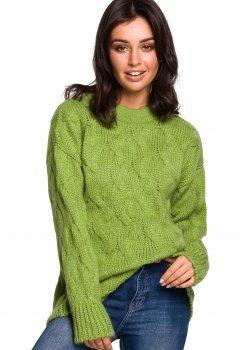 Плетен пуловер в зелен цвят BK038
