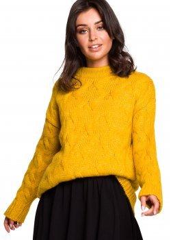 Плетен пуловер в жълт цвят BK038