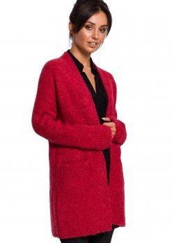 Плетена жилетка с джобове в червен цвят BK034