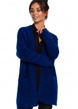 Плетена жилетка с джобове в син цвят BK034