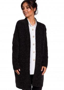 Плетена жилетка с джобове в тъмносив цвят BK034