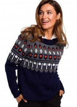 Пуловер с кръгло деколте в син цвят S199