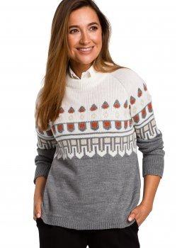 Пуловер с кръгло деколте в сив цвят S199