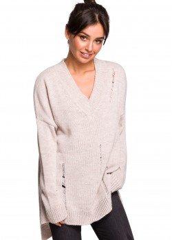 Пуловер с V-образно деколте в бежов цвят BK028