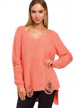 Пуловер с V-образно деколте в цвят корал M473