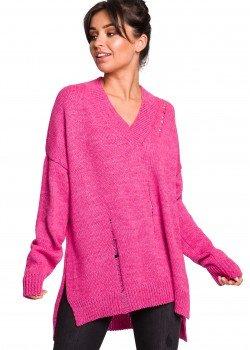 Пуловер с V-образно деколте в розов цвят BK028