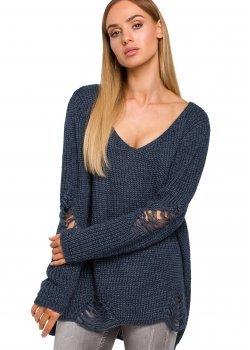 Пуловер с V-образно деколте в син цвят M473