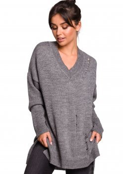 Пуловер с V-образно деколте в сив цвят BK028